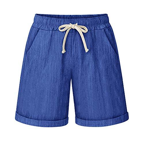 (Fuwenni Women's Casual Elastic Waist Knee Length Bermuda Shorts with Drawstring Denim Blue US XXL)