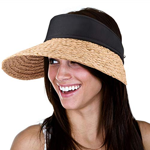 Maylisacc Straw Sun Visors for Women Wide Brim Topless Beach Hats Foldable Khaki (Brim Sun Visor)
