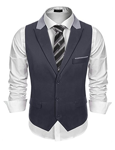 COOFANDY Men's 1920's Style Suit Vest Formal Skinny