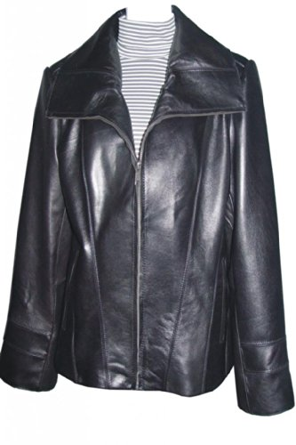Paccilo Women 4042 PETITE & ALL SIZE Fashion Lambskin Real Leather Jacket Petite Black Leather