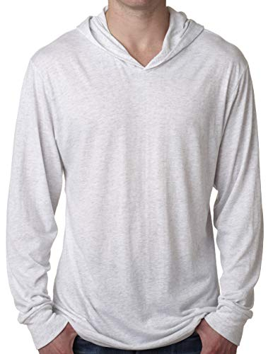 Yoga Clothing For You Mens Triblend Lightweight Hoodie Tee Shirt (Mens Medium, Heather White)