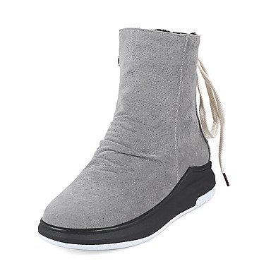Bootie compensé à RTRY Chaussures à CN39 bout UK6 femme Automne Mode nubuck pour Bottes Talon Cuir lacets Hiver rond EU39 Casual Zipper US8 Bottes Bottes Bottines qFr8Pq