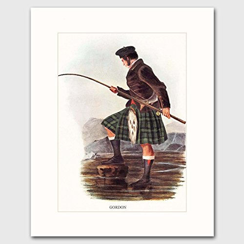 gordon-clan-highlands-dress-art-w-mat-scottish-fly-fishing-family-name-wall-decor-matted-print