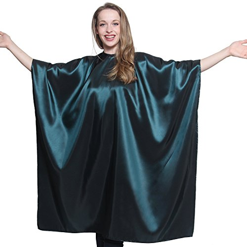 Green Iridescent Salon Cape with snaps Professional Quality 45 inch X 60 inch Heavy Duty Material Extra Long Durability For Barbershop and Beauty Shop Use Long Lasting and Specialized (GREEN)