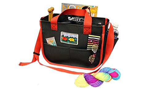 Shoulder Bag Crafters Carry-All with Firehouse Red Trim for knitters, spinners, cross stitchers, needlepointers, and crocheters. (7-57M). Features eleven roomy pockets