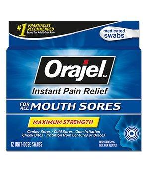Orajel Medicated Mouth Sore Swabs, Maximum Strength, 12 (Orajel Mouth Sore Swabs)