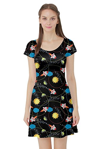 CowCow Womens Black Space with Cute Rocket Short Sleeve Dress, Black - M -