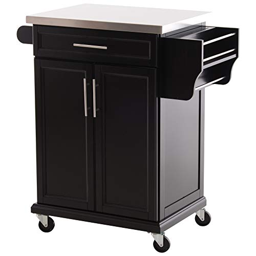 HOMCOM Wood Stainless Steel Multi- Storage Rolling Kitchen Island Utility Cart with Wheels – Black