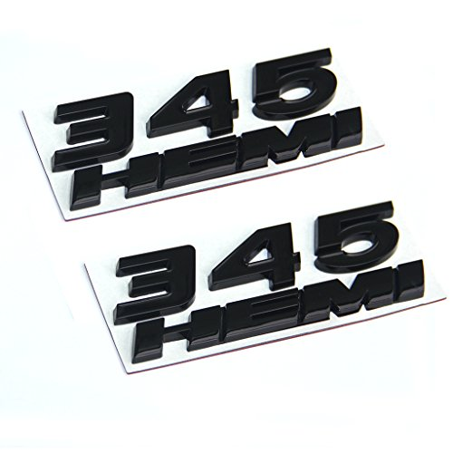 (Yoaoo 2 set OEM Black 345 HEMI 345HEMI Emblem Badge Alloy Decal 3d Logo for Dodge Challenger Chrysle 300c (Black))