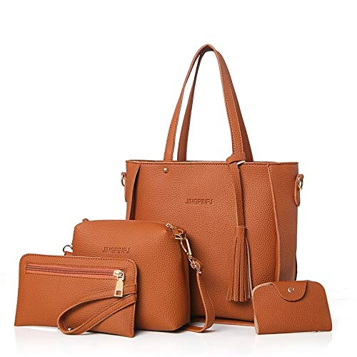 Blushing Body Handbags Capacity Large Classic Brown Gray Cross Bags Zipper Purse Tote Qztg Pu Pieces Handbagwomen's Bag Pink Set 4 BpxqTzR1H