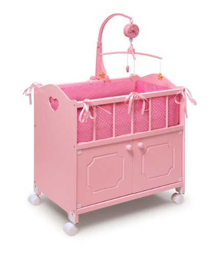 Badger Basket Pink Doll Crib with Cabinet/Bedding/Mobile/Wheels (fits American Girl dolls)