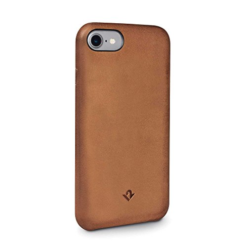 Twelve South Relaxed Leather Case for iPhone 8/7/6 | Hand Burnished Leather Shell (Burnished Cognac)