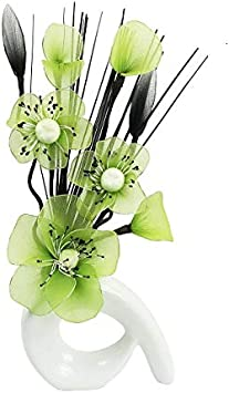 Fake Flowers Home Accessories Ornaments Small Gift 32cm QH1 Silver Vase with White Nylon Artificial Flowers in Vase