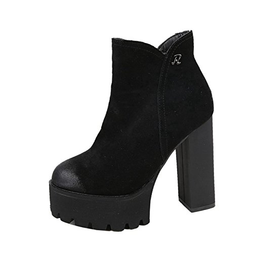 Winter Heels American Heels Martin New Boots Black Sanding 12Cm Waterproof Woman High MDRW In And European Short High Boots And qwUvx7xt