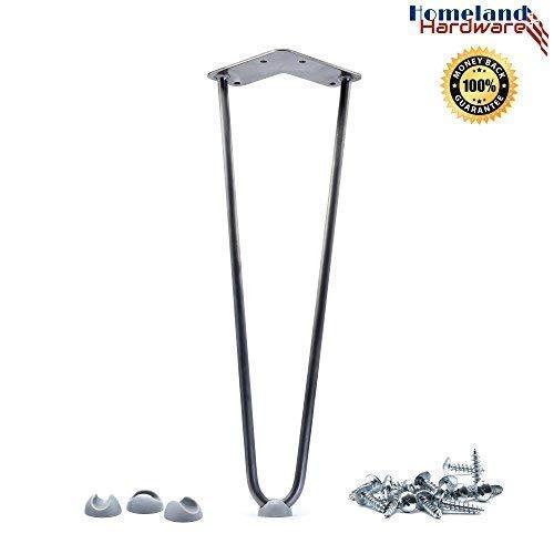 16'' Hairpin Legs 3/8'' [Raw Steel] Leg Protectors(4) + Screws(20) [Set of 4] - Metal Legs - Coffee Table Legs - Desk Legs - Furniture Legs - Mid Century Modern by Homeland Hardware by Homeland Hardware (Image #6)