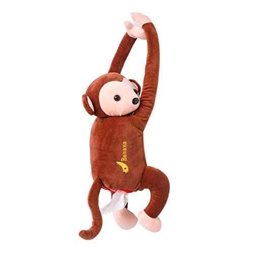 iWEingHo&21 Monkey Butt Tissue Holder, Fits Square Tissue Box Lovely Animal Plush Monkey Tissue Box Car Hanging Storage Case Interior Decor Brown