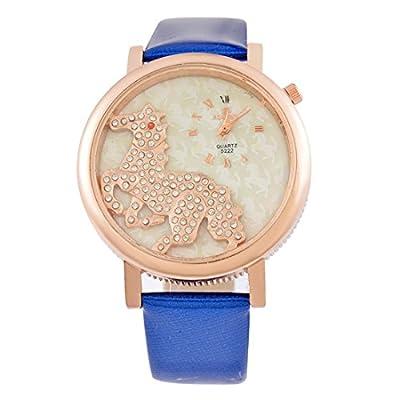 Womens Blue Artificial Leather Horse Rhinestone Dial Quartz Analog Wrist Watch 24cm
