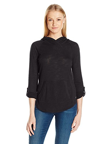 Calvin Klein Performance Women's Kanga Pocket Pullover W/ Converitble Sleeve, Black, S