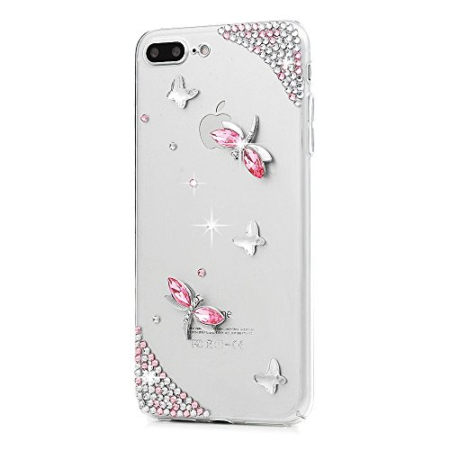 STENES iPhone 8 Plus Case - 3D Handmade Luxury Series Crystal Dragonfly Sparkle Rhinestone Cover Bling Case for iPhone 7 Plus/iPhone 8 Plus Retro Bows Dust Plug - Pink ()