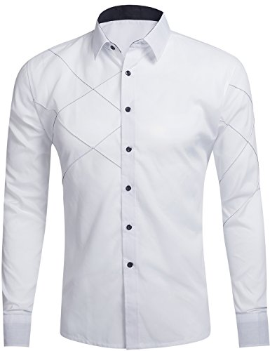 (DOKKIA Men's Fashion Dress Solid Cotton Fitted Button Down Long Sleeve Shirts (Large, White))