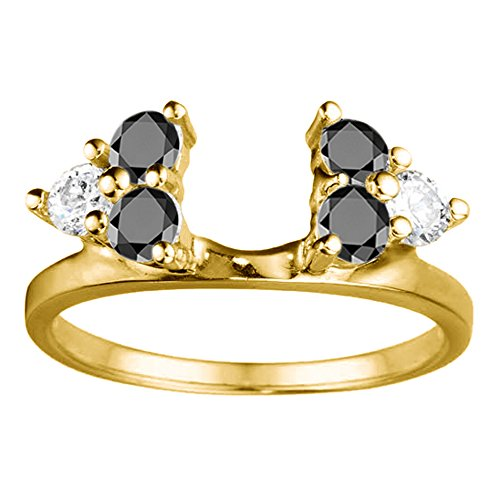 Black Cz Engagement Ring Jacket in Sterling Silver (0.12Ct) Size 3 To 15 in 1/4 Size Interval by TwoBirch (Image #2)