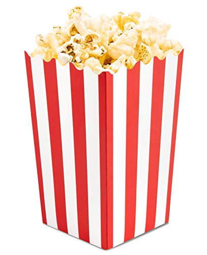 Set of 100 Popcorn Favor Boxes - Mini Paper Popcorn Bags and Snack Containers, Carnival Party Supplies for Movie Night, Movie Theme Party, Red and White, 3.5 x 3.5 x 5.5 Inches]()