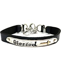 Western Hammered Blessed John 3:16 Prayer Faith Leather Bracelet