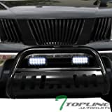 Topline Autopart Black Bull Bar Brush Push Bumper Grill Grille Guard With Skid Plate + 36W Cree LED Fog Lights For 05-18 Nissan Frontier ; 05-07 Pathfinder ; 05-15 Xterra