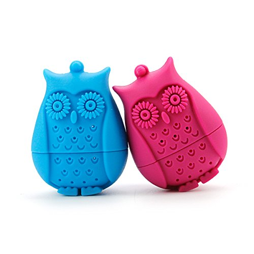2pcs Silicone Mini Owl Tea Bag,Ezeso Reusable Tea Filter Infuser Strainer for Coffee Herb Punch (Blue + Rose)