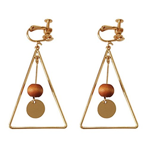 Glass Bead Clip Earrings - Screw Back Clip on Earring Clip for non Pierced Drop Dangle Triangle Gold Plated for Women Coffee Bead
