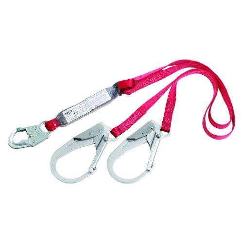 Double Leg Lanyard - 3M Protecta PRO 1340180 6', 100-Percent Shock Absorbing Lanyard, Snap Hook On One End, Rebar Hooks On Leg Ends, 310  lb. Capacity, Red