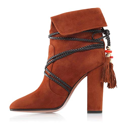 Brown US9.5-10   EU41   UK7.5-8   CN42 Brown US9.5-10   EU41   UK7.5-8   CN42 Women's Bootie Suede Fall & Winter Boots Chunky Heel Pointed Toe Booties Ankle Boots Tassel Black Brown   Party & Evening