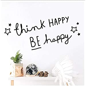 Buzdao Home Decor Think Happy Be Happy Wall Sticker for Living Room Bedroom Kids Room Decal Wall Mural Muraux Stickers