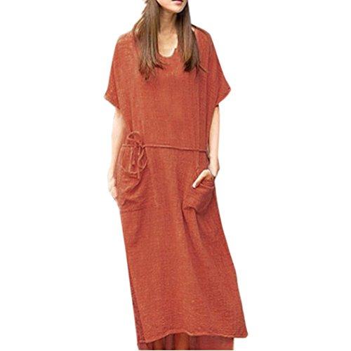 Women Loose Cotton Linen Short Sleeve Waistband Long Maxi Dress Kaftan Baggy (Orange, ()