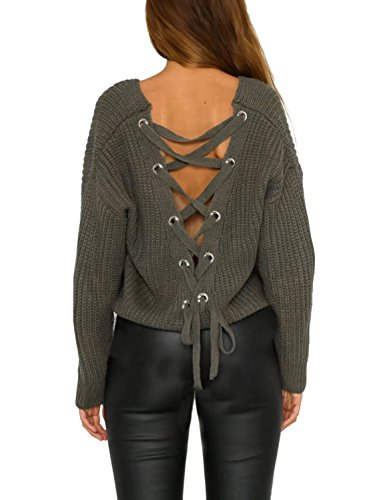 (Simplee Women's Autumn Winter Sexy V Neck Lace Up Backless Crop Pullover Sweater Army Green)
