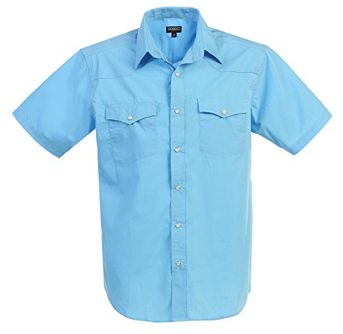 Gioberti Mens Casual Western Solid Short Sleeve Shirt with Pearl Snaps, Light Blue, 3X (Light Blue Pearl)