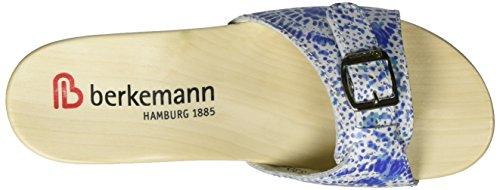 Leder Berkemann Batik Weiß Femme Silenz Mules Weiß Print Amaryllis Bleu Blau qwqYHTF