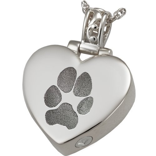 Filigree Bail Heart With Actual Pet Print (Pawprint, Sterling Silver)