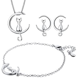 Moon Cat Fashion Jewelery Set - 3 Pcs of Pendant Necklace, Link Bracelet and Stud Earrings by AnotherKiss Gift for Girls and Women