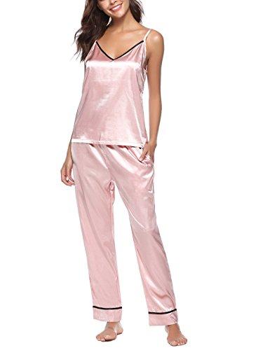 Romanstii Satin Pajamas Set Sleepwear Silk Pajama Sets Camisole Nightwear PJ Set -