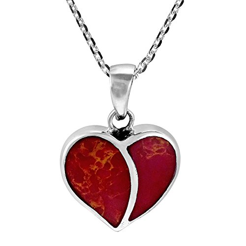 AeraVida One Love Heart Reconstructed Red Coral Inlays .925 Sterling Silver Pendant Necklace