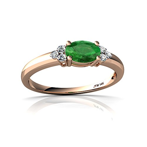 14kt Rose Gold Emerald and Diamond 6x4mm Oval Simply Elegant Ring - Size 7