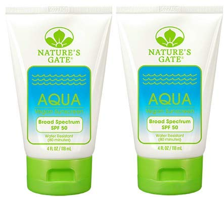 Nature's Gate Aqua Broad Spectrum SPF 50 Sunscreen (Pack of 2) With Shea Butter, Jojoba and Rosemary, 4 fl. oz. Each