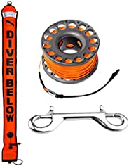 5ft Red Scuba Diving Open Bottom Surface Marker Buoy (SMB) with 98ft Finger Spool Alloy Dive Reel and Double E