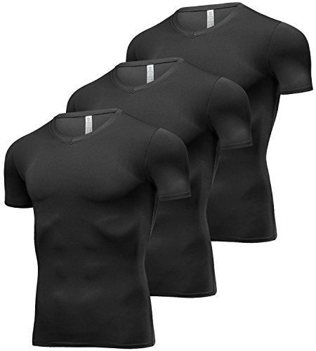 Lavento Men's Cool Dry Compression Shirts V-Neck Short-Sleeve Workout T-Shirts (3 Pack-V Neck Black,Large)