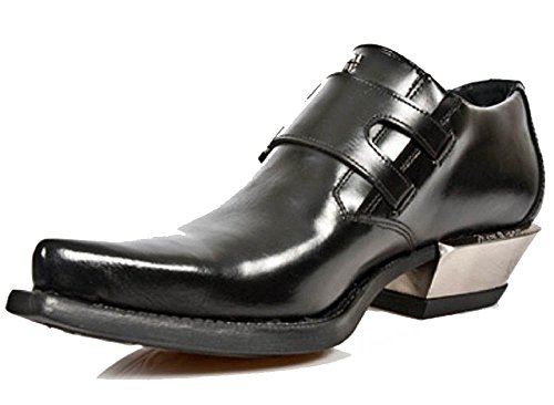 Argent New Style Buckles Shoe Cuban Formal Rock with Noir Heel Side wqnXPqSAx