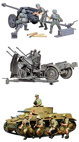 (3 Sets of Tamiya Military Assembly Models - German Weapons - 75 mm Pak 40/L46, 20 mm Quad Flak (Flakvierling) 38 and Panzer Kampfwagen II Ausf. F/G Sets (Japan Import))