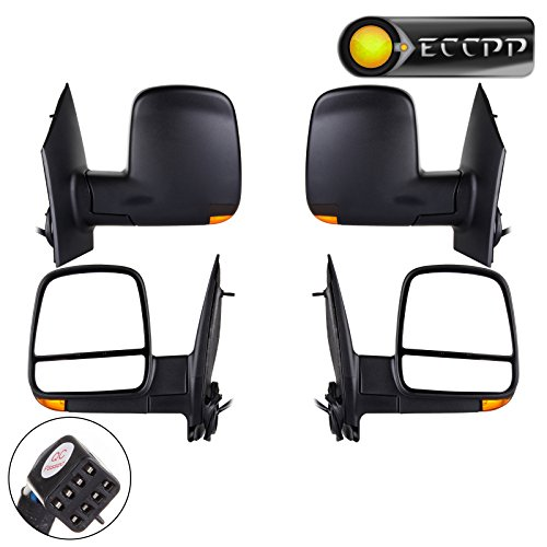 ECCPP Towing Mirror Side Mirror Replacement for 2008-2017 Chevrolet Express GMC Savana Van with Power Heated Turn Signal- Textured Black - Pair