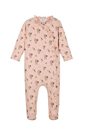 Feather Baby Girls Clothes Pima Cotton Ruffle Kimono Footie Sleep 'N Play Coverall Romper (6-9 Months, Sheep on Coral) ()