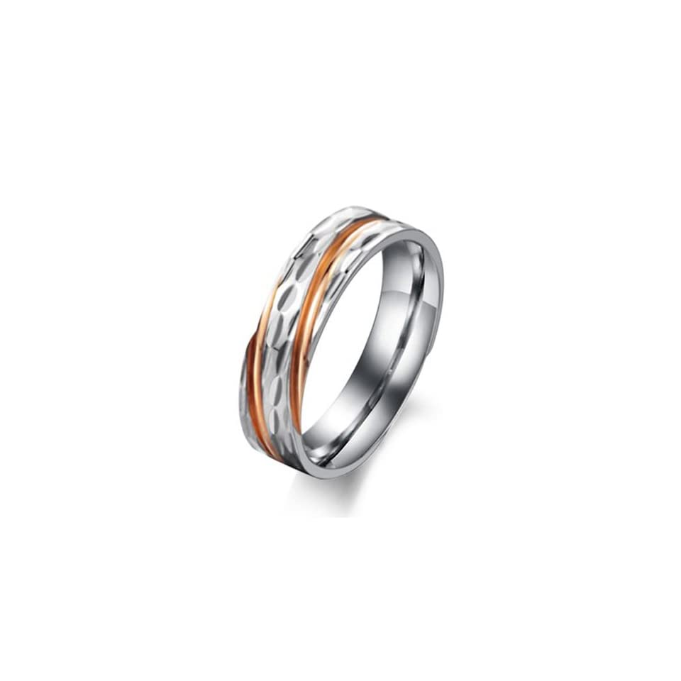 JewelryWe Stripe Mens Ladies Stainless Steel Couple Ring Lovers Wedding Band (Rose Gold Color) Jewelry